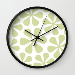 Abstract Flowers Lime Color on White Wall Clock