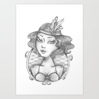 burlesque Art Prints featuring Burlesque by Calinca Alcantara