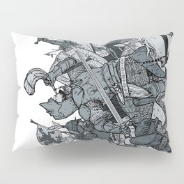 Saturday Knight Special STEEL BLUE / Vintage illustration redrawn and repurposed Pillow Sham