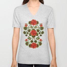 Red Geraniums -  Vintage-Inspired Floral Pattern For Spring Unisex V-Neck