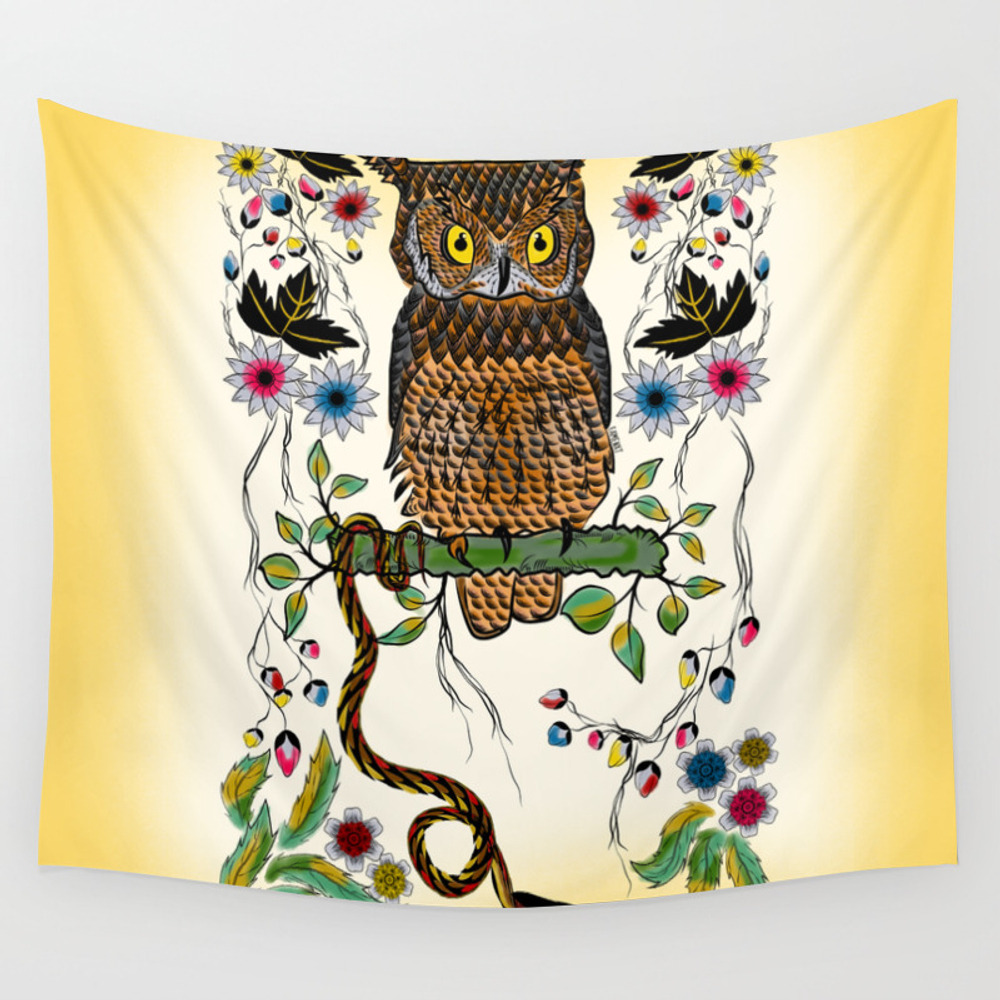 Vibrant Jungle Owl And Snake Wall Tapestry by Famenxt TPS2500858