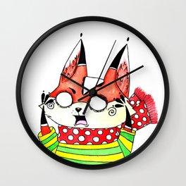 Fox in a scarf Wall Clock