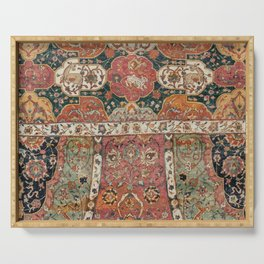 Persian Medallion Rug V // 16th Century Distressed Red Green Blue Flowery Colorful Ornate Pattern Serving Tray