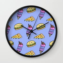 Fast Food Cuties (Blue) Wall Clock