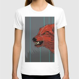 Red wolf with blue lines T-shirt
