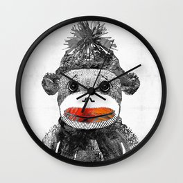 Sock Monkey Art In Black White And Red - By Sharon Cummings Wall Clock