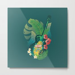 Music design with retro acoustic guitar, drum and tropical leaves and flowers Metal Print