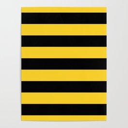 Yellow and Black Honey Bee Horizontal Cabana Tent Stripes Poster