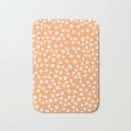 Orange and white doodle dots Bath Mat