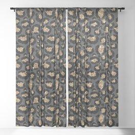 Black Gold Leopard Print Pattern Sheer Curtain