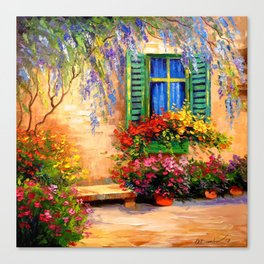 Blooming summer patio Canvas Print