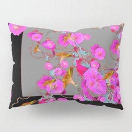 Pink Morning Glories on Black Art Design Pillow Sham