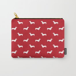 Dachshund pattern minimal red and white dog lover home decor gifts accessories silhouette Carry-All Pouch