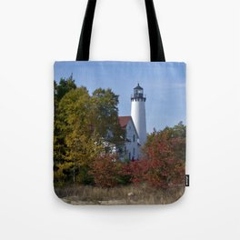 Pt Iroquois Lighthouse Fall Tote Bag