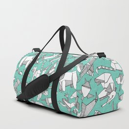 origami animal ditsy mint Duffle Bag