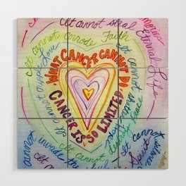 Rainbow Heart Colorful What Cancer Cannot Do Poem Wood Wall Art