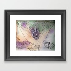 bunny in flowers Framed Art Print