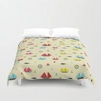 boats Duvet Covers featuring Boats by Annika Bäckström