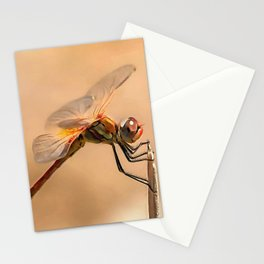 Painted Dragonfly Isolated Against Ecru Stationery Cards