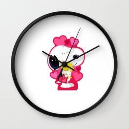 Snoopy pink hug Wall Clock