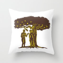 Adam and Eve Apple Serpent Woodcut Throw Pillow