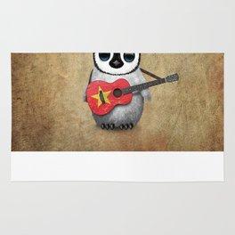 Baby Penguin Playing Vietnamese Flag Guitar Rug