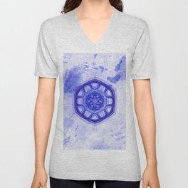 Blue wheel of fortune mandala Unisex V-Neck