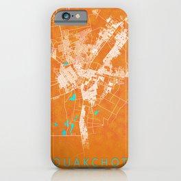 Nouakchott, Mauritania, Gold, Blue, City, Map iPhone Case