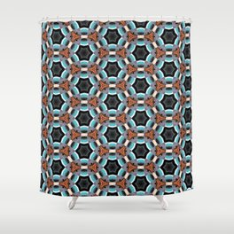 Crack in the Curtain - Abstract Kaleidoscopic Repeating Star Pattern Shower Curtain