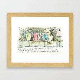 Camino de Santiago - Pilgrim Laundry Framed Art Print