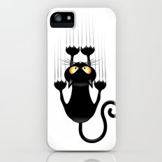 Black Cat Cartoon Scratching Wall iPhone (5, 5s) Slim Case