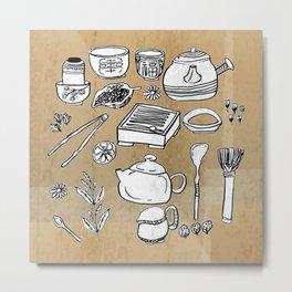 Chinese Tea Doodle 1 Metal Print