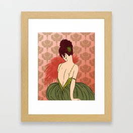 Art Deco Lady with Damask - BIANCA: Antique Autumn Framed Art Print