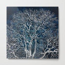 Midnight Silver tree - Wallnut Metal Print