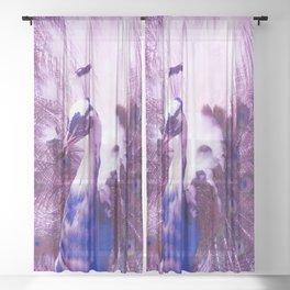 White Purple Peacock Sheer Curtain