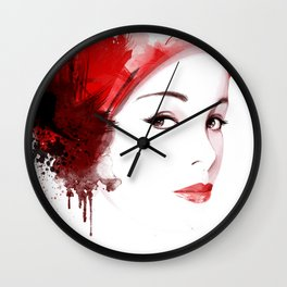 Beauty in red hat, Fashion Beauty, Fashion Painting, Fashion IIlustration, Vogue Portrait, #18 Wall Clock