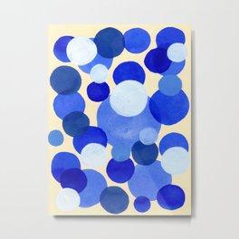 Colorful Blue White Watercolor Bubbles Metal Print