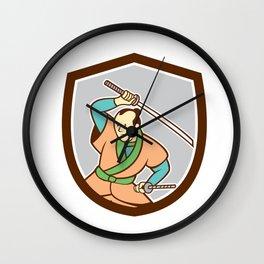 Samurai Warrior Katana Sword Shield Cartoon Wall Clock