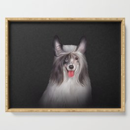 Drawing, illustration Chinese crested dog Serving Tray