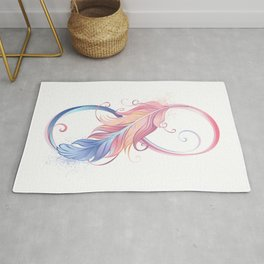 Infinity Symbol with Pink Feather Rug