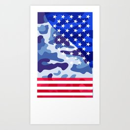 Patriotic camouflage pattern Art Print