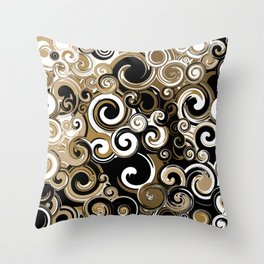 Coffee Swirls Throw Pillow