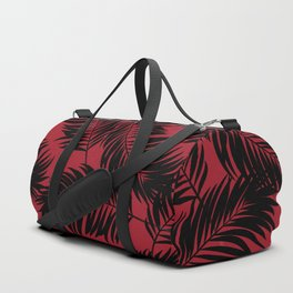 Palm Frond Tropical Décor Leaf Pattern Black on Red Duffle Bag