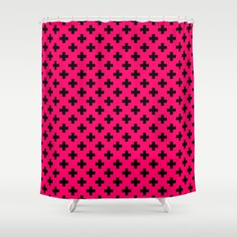 Black Crosses on Hot Neon Pink Shower Curtain