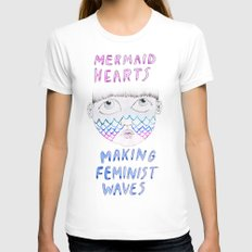 Mermaid Hearts White Womens Fitted Tee SMALL