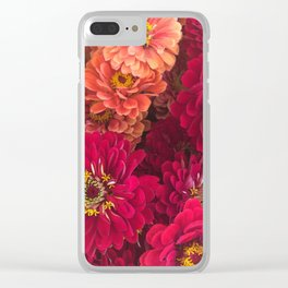 Pink Zinnias Clear iPhone Case