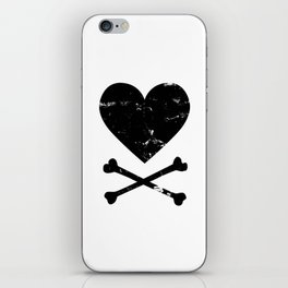 Heart and Crossbones - Black iPhone Skin