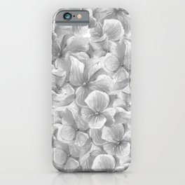 Elegant gray white hand painted watercolor floral iPhone Case