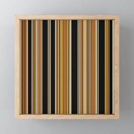Orange black retro stripes Framed Mini Art Print
