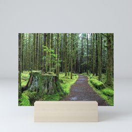 All covered with green moss magic forest Mini Art Print